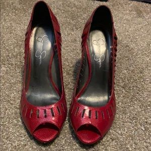 Red Patent Jessica Simpson Open-Toed heels